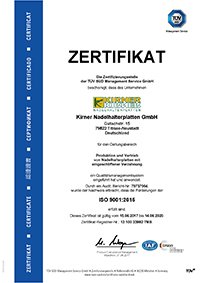 Qualitäts-Zertifikat nach DIN EN ISO 9001:2015