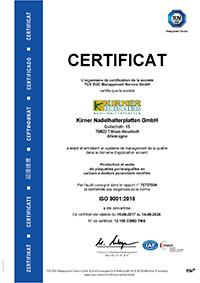 Certificat de qualité selon DIN EN ISO 9001:2015